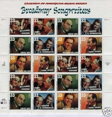 Broadway Songwriters pane of 20 x 33 cent U.S. Stamps 1