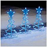 CHRISTMAS 3 PC LED LIGHTED BLUE SPIRAL PATHWAY MARKERS WITH 60 LIGHTS