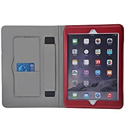 iPad 6, iPad Air 2 Case Cover Okeyn Premium Leather Case Stand Cover with Card Slots, Pocket, Elastic Hand Strap and Stylus Holder with Auto Wake/Sleep Feature for Apple iPad Air 2 (iPad 6) (Red)