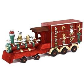Kurt Adler J1161 Wooden 24 Days Train Advent Calendar Tablepiece with 24 Wooden Ornaments, 9-Inch