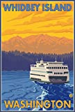 Ferry and Mountains - Whidbey Island, Washington (12x18 Art Print, Wall Decor Travel Poster)