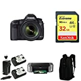 Canon EOS 5D Mark III Full Frame Digital SLR Camera with EF 24-70mm f 4 L IS Kit + PIMXA Pro 100 Printer - Photo Paper - Memory Card - Bag and Battery