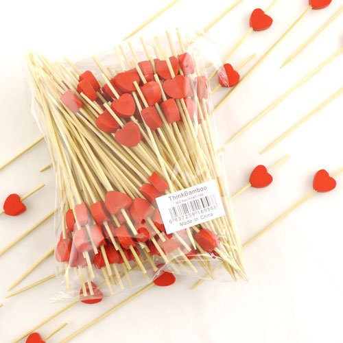 BambooMN Brand - Decorative Heart Bamboo Picks 4.7