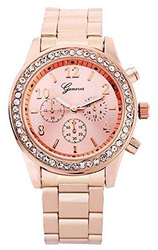 Women Stainless Steel Band Quartz Wrist Watch-Rose