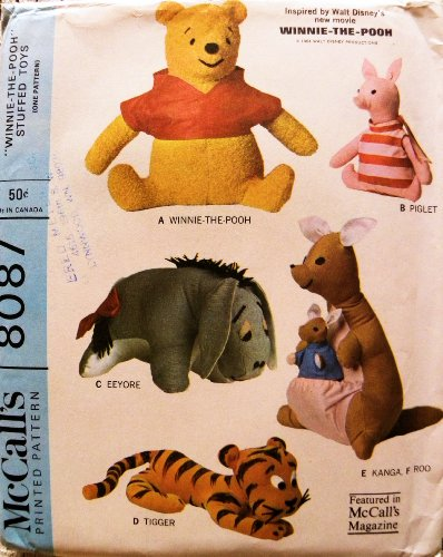Mccalls 8087 Winnie The Pooh Eeyore Piglet, Tigger, Kanga And Roo Stuffed Toy Sewing Pattern Vintage 1965 Walt Disney front-942846