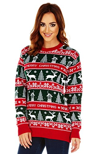 Natale da uomo maglione a maglia Fair Isle Maglione Unisex MERRY XMAS FAIRISLE XX-Large