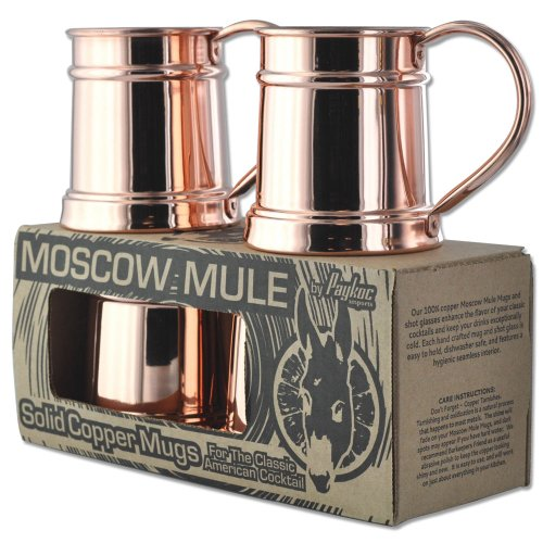 20oz Set of 4 Copper Moscow Mule Steins by Paykoc