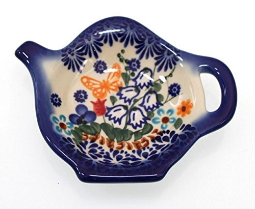 Classic Boleslawiec, Polish Pottery Hand Painted Ceramic Tea Bag Tidy, Diameter: 3.9 inch, 324-U-099 (Polish Decorative Plates compare prices)