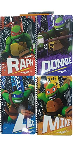 TMNT Notebook ( Cuadernos Escolares ) Wide Ruled for School - Spiral Wirebound 1 Subjects Per Notebooks - 4 Notebooks Total ( Leo Donnie Ralph Mikey ) Perfect for going Back To School ! With Pencils