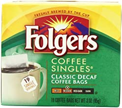 Folgers Classic Medium Roast Decaffeinated Coffee Singles 19-Count Singe Servings 3 Ounce Pack of 6