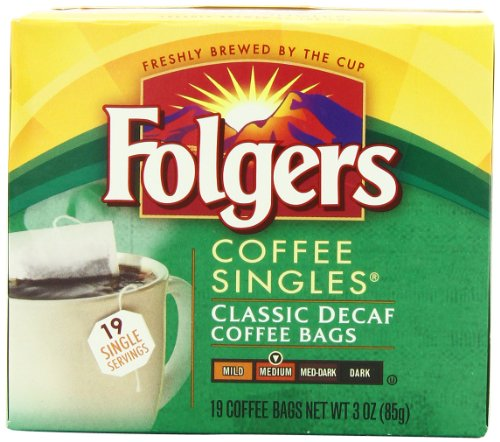 Folgers Classic Medium Roast Decaffeinated Coffee Singles, 19-Count Singe Servings, 3 Ounce, (Pack of 6)