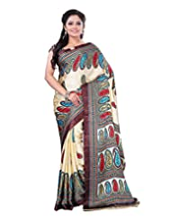 Surat Tex Cream & Brown Crepe Daily Wear Printed Sarees With Blouse Piece-E579SE1002CST