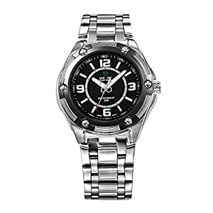 Mens Dress Watch Silver Metal Bracelet Black Dial White Markers Quartz Movement WH-100