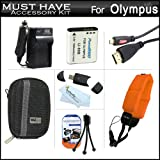 Must Have Accessory Kit For Olympus TOUGH TG-1 iHS, TG-1iHS Waterproof Digital Camera Includes Extended Replacement (1500Mah) LI-90B Battery + Ac/Dc Charger + MiCRO HDMI Cable + USB Card Reader + Deluxe Hard Case + FLOAT STRAP + Screen Protectors + More