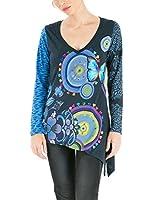Desigual Alice - T-shirt - Imprimé - Col V - Manches longues - Femme
