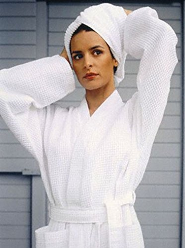 Waffle Honeycomb Weave Cotton Kimono Spa   Bath Robe - 61