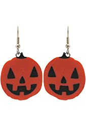 "1"" Pumpkin Jack-O-Lantern Halloween Earrings!, in Orange with Silver Tone Finish"
