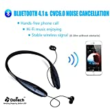 Bluetooth Headphones, DolTech Stereo Wireless Headset Neckband Retractable Sport Earbuds with Mic Noise-Cancelling, Sweatproof Bluetooth 4.1 for iPhone IOS Android (980sblack)