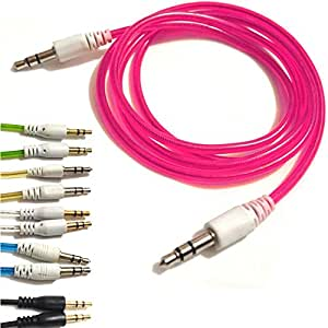 PINK 3.5mmto 3.5mm Stereo Car Audio Jack To Jack Tangle Free AUX Auxilliary Cable Lead For KARBONN TITANIUM S1 Android Mobile Cellular Cell Phone