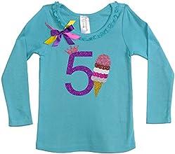 Bubblegum Divas Little Girls39 5th Birthday Ice Cream Cone Long Sleeve Shirt