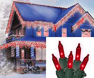 Set of 100 Red Everglow Mini Icicle Christmas Lights - Green Wire