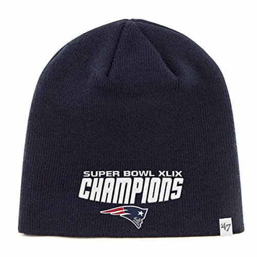 New England Patriots 47 Brand Navy Super Bowl XLIX Champions Knit Beanie Hat Cap (Super Bowl Merchandise Patriots compare prices)