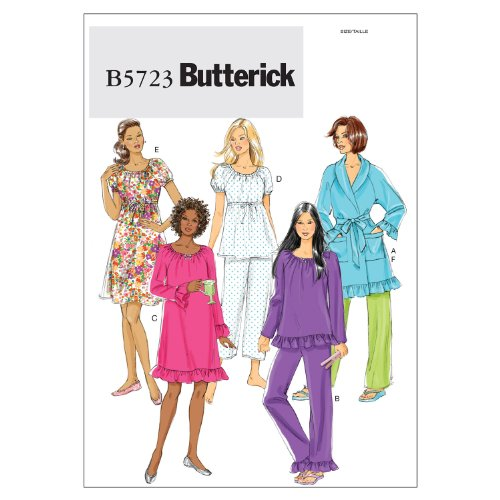 Butterick Patterns B5723 Misses' Robe, Belt, Top, Gown and Pants, Size Y (XSM-SML-MED)