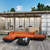 LexMod Laguna Outdoor Wicker Patio 6 Piece Sectional Sofa Set In Espresso with Orange Cushions