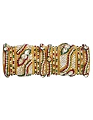 Two Sets Of White, Red And Green Stone Studded Golden Yellow Bangles - Stone And Metal