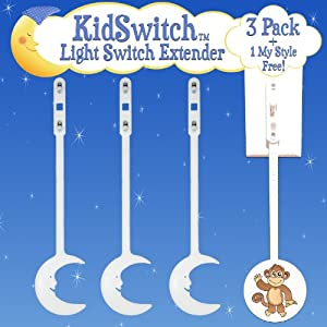 KidSwitch Toggle Light Switch Extender - Original Moon 3 Pack + 1 FREE My Style Plush Pack