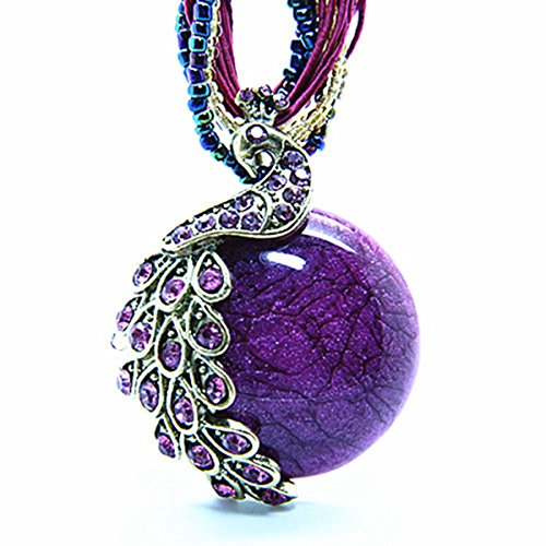 Zonman Pretty Jewelry Retro Bohemia Style Pendant Opal Phoenix Peacock Necklace Best Gifts for Women (P5)