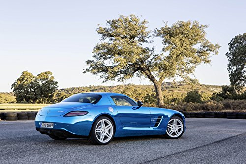"""Mercedes-Benz Sls Amg Electric Drive Concept (2012) Car Art Poster Print On 10 Mil Archival Satin Blue Rear Side Parked View 11""""X14"""""""