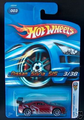 Mattel Hot Wheels 2006 1:64 Scale Red Nissan Silvia S15 3/38 Die Cast Car #003