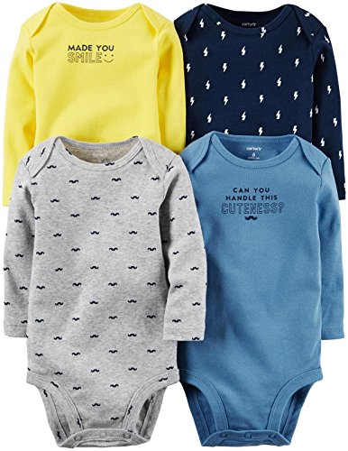 Carter's Baby Boys Multi-Pack Bodysuits 126g338, Assorted, 3 Months