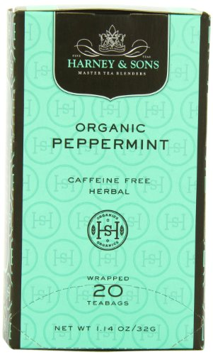 Harney and Sons Premium Tea Bags, Organic Peppermint, 20 Count