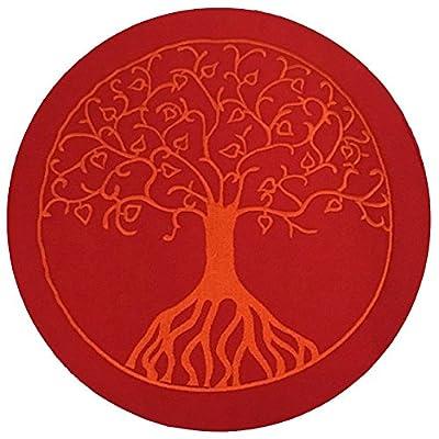 maylow - Yoga mit Herz - Yogakissen Meditationskissen mit Stickerei Baum des Lebens 33x15cm mit Dinkelspelz gefüllt - Bezug und Inlett 100% Baumwolle