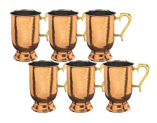 Old Dutch 5-1/2-Inch Solid Hammered Tankard, Copper, Set of 6
