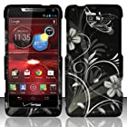 For Motorola Droid RAZR M 4G LTE XT907 (Verizon) Rubberized Design Cover - White Flowers