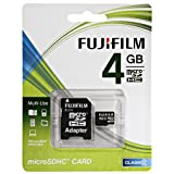 Fujifilm 4GB Class 2 MicroSDHC Memory Card and Adapter