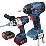 Bosch GSB18VE-2-LI Plus GDR18VLIN 18V Robust Series Combi Drill and Impact Driver Twinpack in L-Boxx (2x 4.0Ah Batteries)