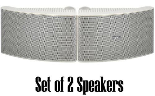 Yamaha All Weather Outdoor / Indoor , Wall / Ceiling Mountable Natural Sound 150 Watt 2 Way Acoustic Suspension Speakers - White - With 100Ft 16 Awg Speaker Wire - Compatible With All Audio / Video Home Theater Sound Systems, Components, Cd Players, Or Re