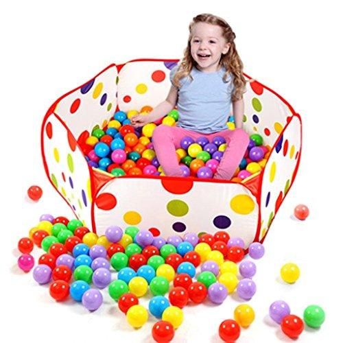 GOTD-Pop-up-Hexagon-Polka-Dot-Kids-Ball-Play-Pool-Tent-Carry-Tote-Toy-50-Balls