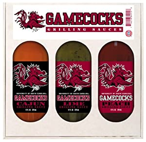 South Carolina Gamecocks Ncaa Grilling Gift Set 12oz Cajun 12oz Lime 12oz Peach by Hot Sauce Harry's