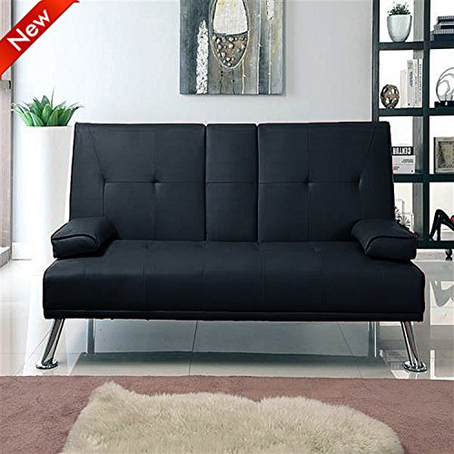 Best Deal Popamazing Modern Faux Leather 3 Seater Sofa Bed With Fold