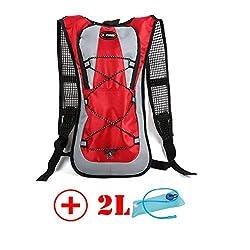 HMLifestyle Hydration packs for hiking hydration backpack Bladder Bag with 2L bladder Water Bag Lightweight Durable Red + 2L bladder