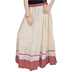 SHREEMANGALAMMART Rajasthani Ethnic White Cotton Long Skirt (White)(SMSKT588)