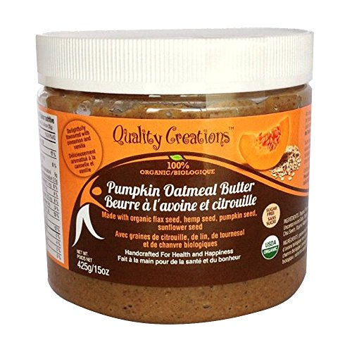 SUGAR FREE Pumpkin Oatmeal Butter - 100% Organic. Very Spreadable and So Creamy. Made with Pumpkin Seed, GF Oats, Flax Seed, Hemp Seed and Sunflower Seed. GMO Free. Gluten Free. Delightfully Flavored with Cinnamon and Vanilla. 425g/15oz (Peanut Butter Cup Pie compare prices)
