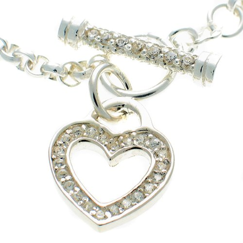 Welded Bliss Sterling 925 Silver Bracelet with CZ Gemstone Heart and T Bar. WBC1230