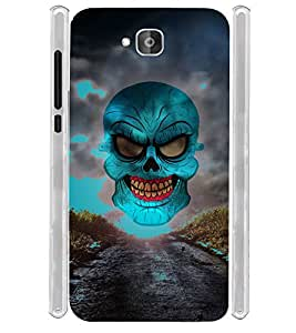 Horror Skull in Road Soft Silicon Rubberized Back Case Cover for Huawei Honor Holly 2 Plus :: Honor Holly 2+