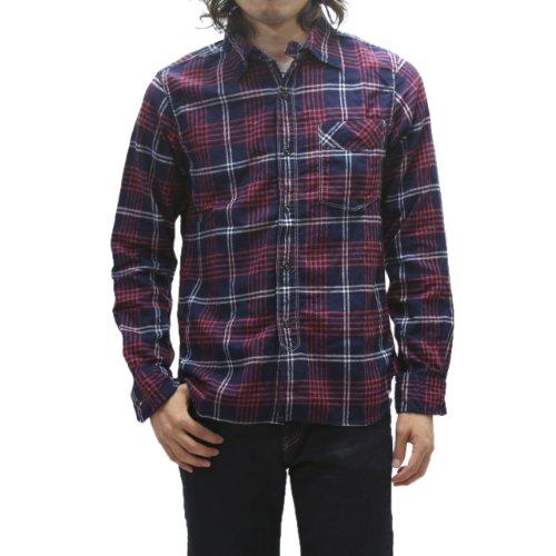 (Omunigoddo) OMNIGOD indigo check flannel shirt 56-091T (2 (M), ...